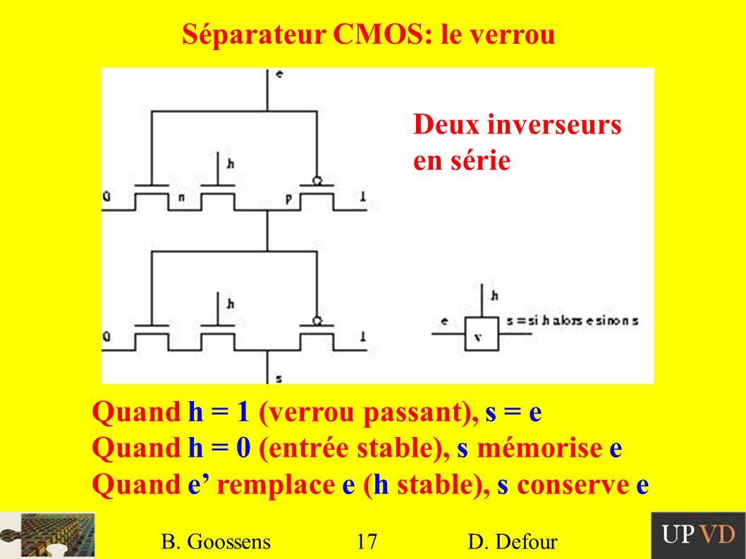 17 B. Goossens D. Defour17 B. Goossens D. Defour Séparateur CMOS: le verrou Quand h = 1 (verrou passant), s = e Quand h = 0 (entrée stable), s mémoris
