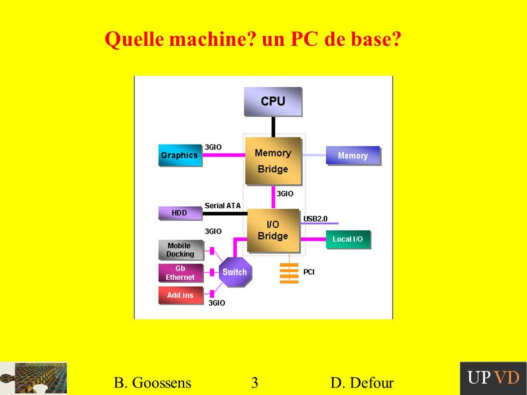 3 B. Goossens D. Defour 3 B. Goossens D. Defour Quelle machine? un PC de base?