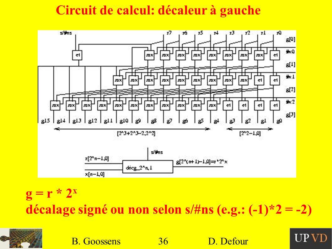 36 B. Goossens D. Defour36 B. Goossens D. Defour Circuit de calcul: décaleur à gauche g = r * 2 x décalage signé ou non selon s/#ns (e.g.: (-1)*2 = -2