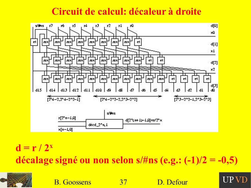 37 B. Goossens D. Defour37 B. Goossens D. Defour Circuit de calcul: décaleur à droite d = r / 2 x décalage signé ou non selon s/#ns (e.g.: (-1)/2 = -0