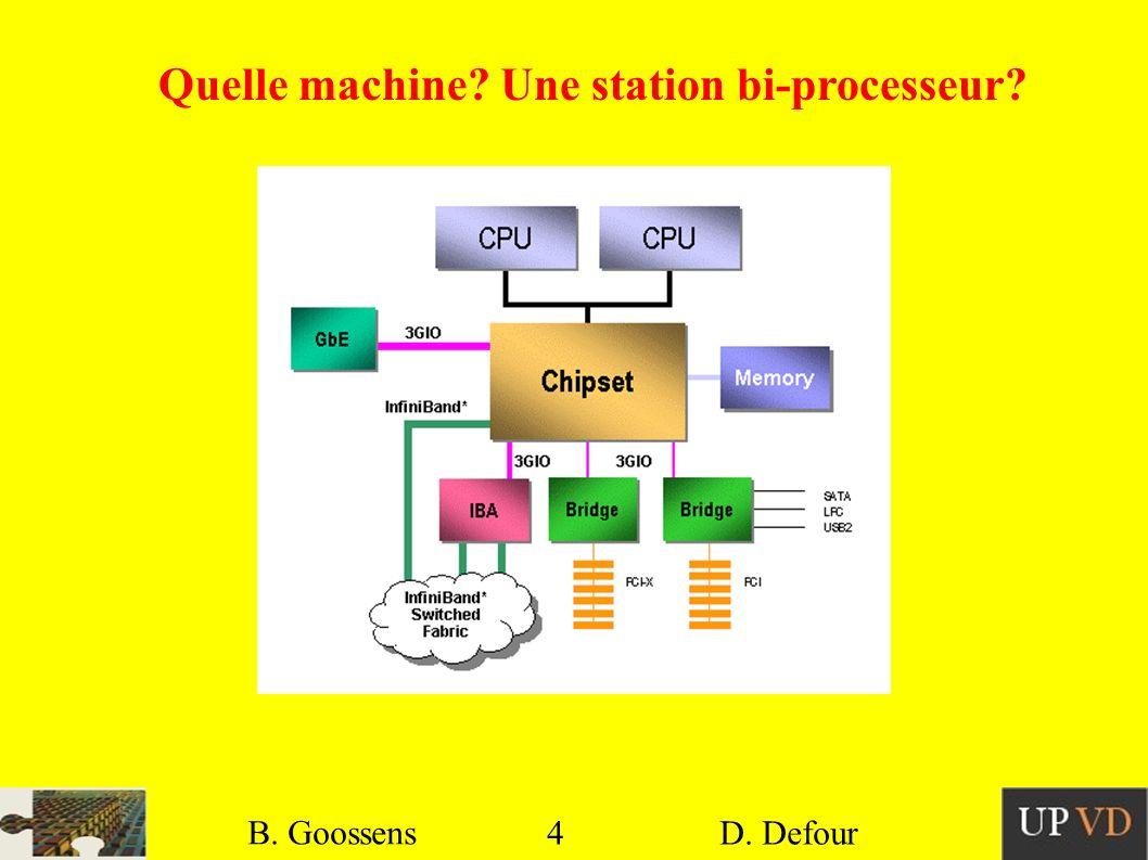 4 B. Goossens D. Defour4 B. Goossens D. Defour Quelle machine? Une station bi-processeur?