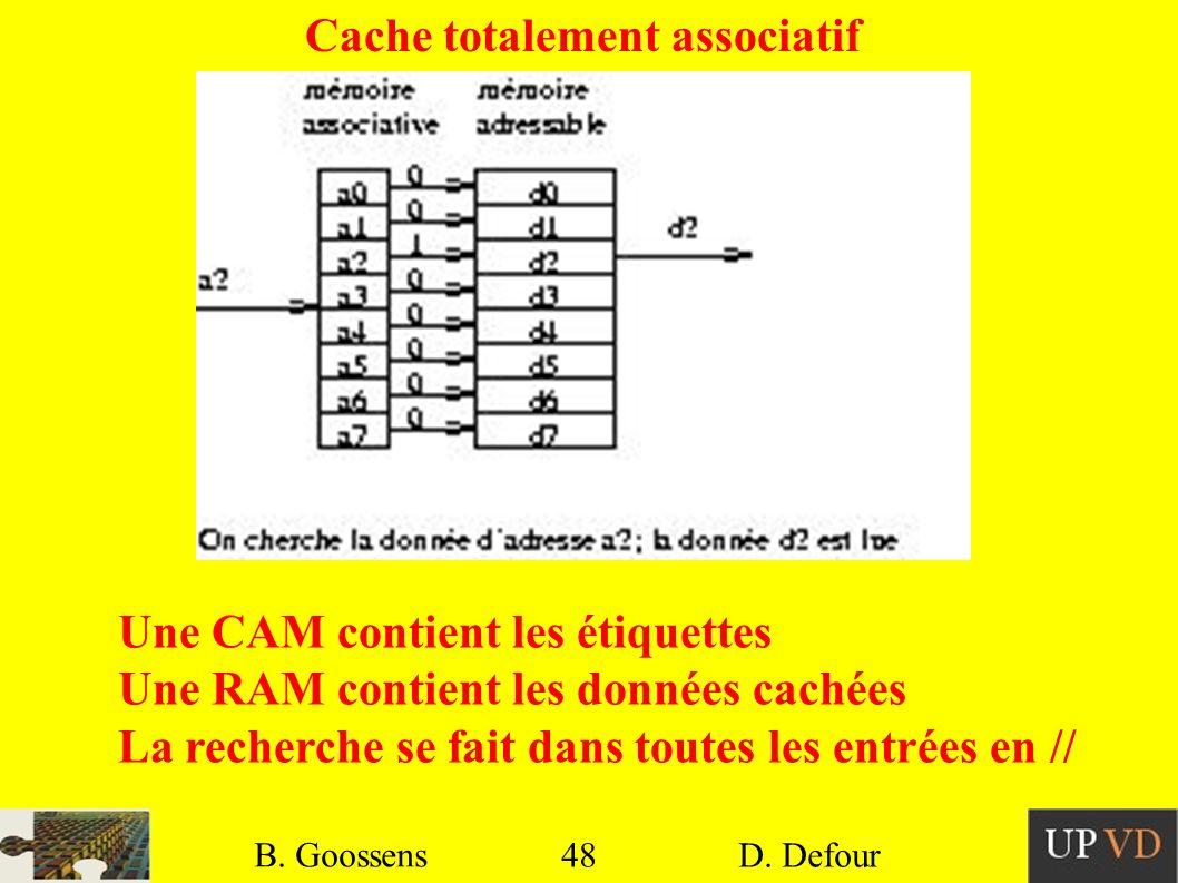 48 B. Goossens D. Defour48 B. Goossens D. Defour Cache totalement associatif Une CAM contient les étiquettes Une RAM contient les données cachées La r