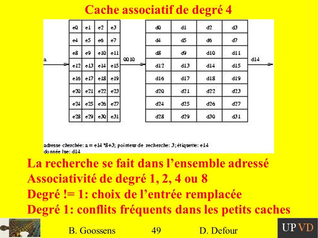 49 B. Goossens D. Defour49 B. Goossens D. Defour Cache associatif de degré 4 La recherche se fait dans lensemble adressé Associativité de degré 1, 2,