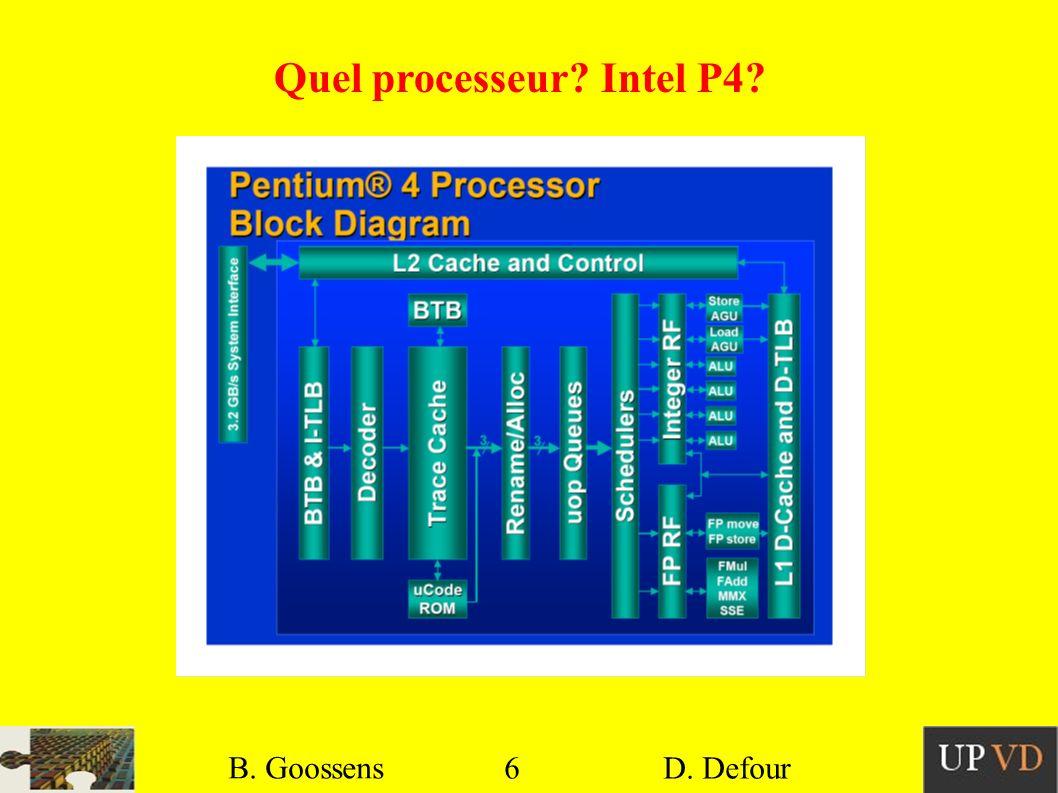 6 B. Goossens D. Defour6 B. Goossens D. Defour Quel processeur? Intel P4?