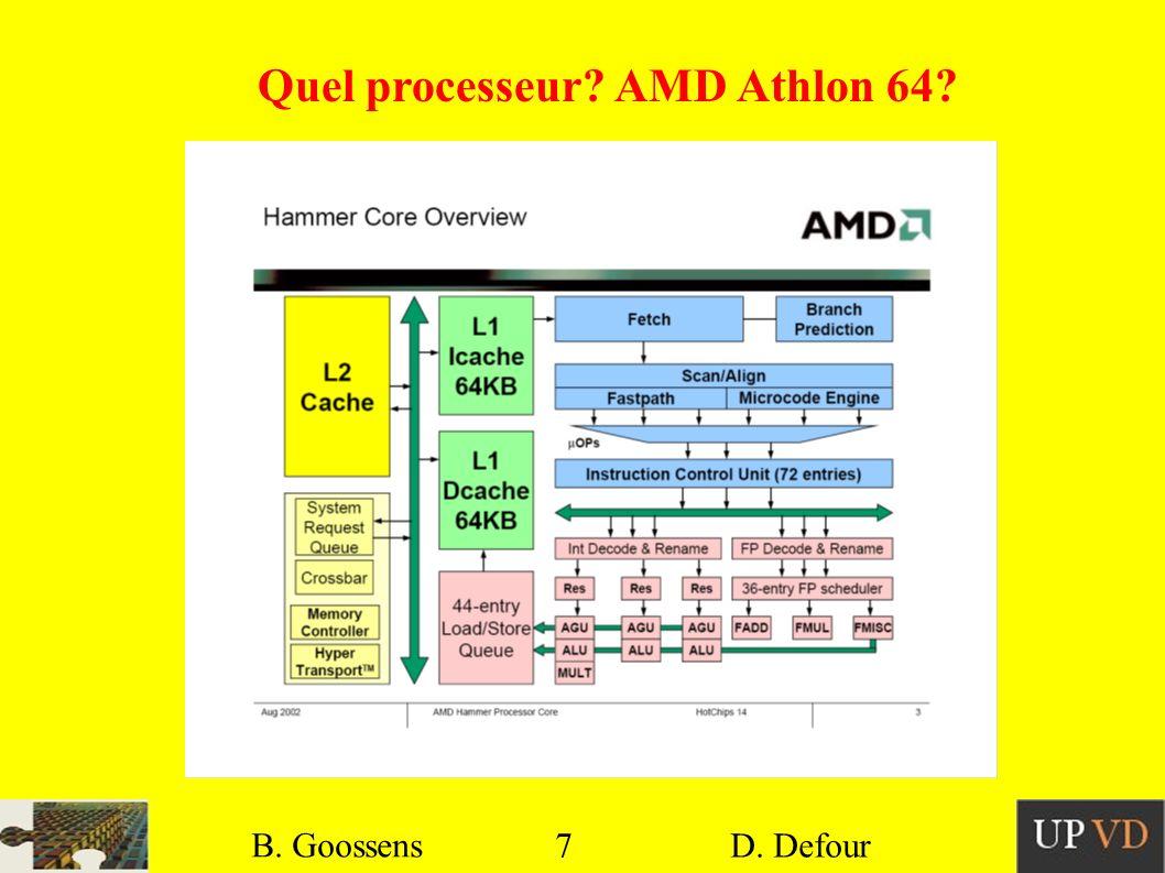 7 B. Goossens D. Defour7 B. Goossens D. Defour Quel processeur? AMD Athlon 64?