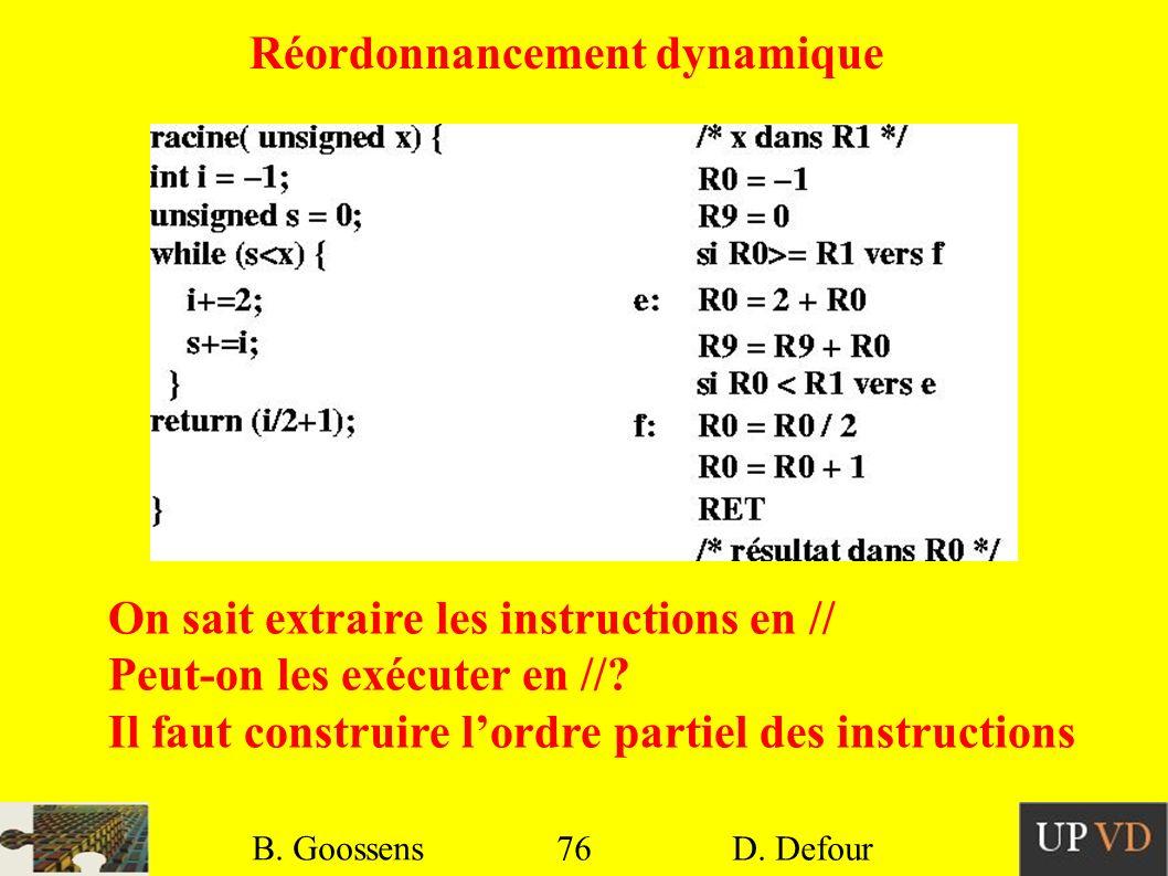 76 B. Goossens D. Defour 76 B. Goossens D. Defour Réordonnancement dynamique On sait extraire les instructions en // Peut-on les exécuter en //? Il fa