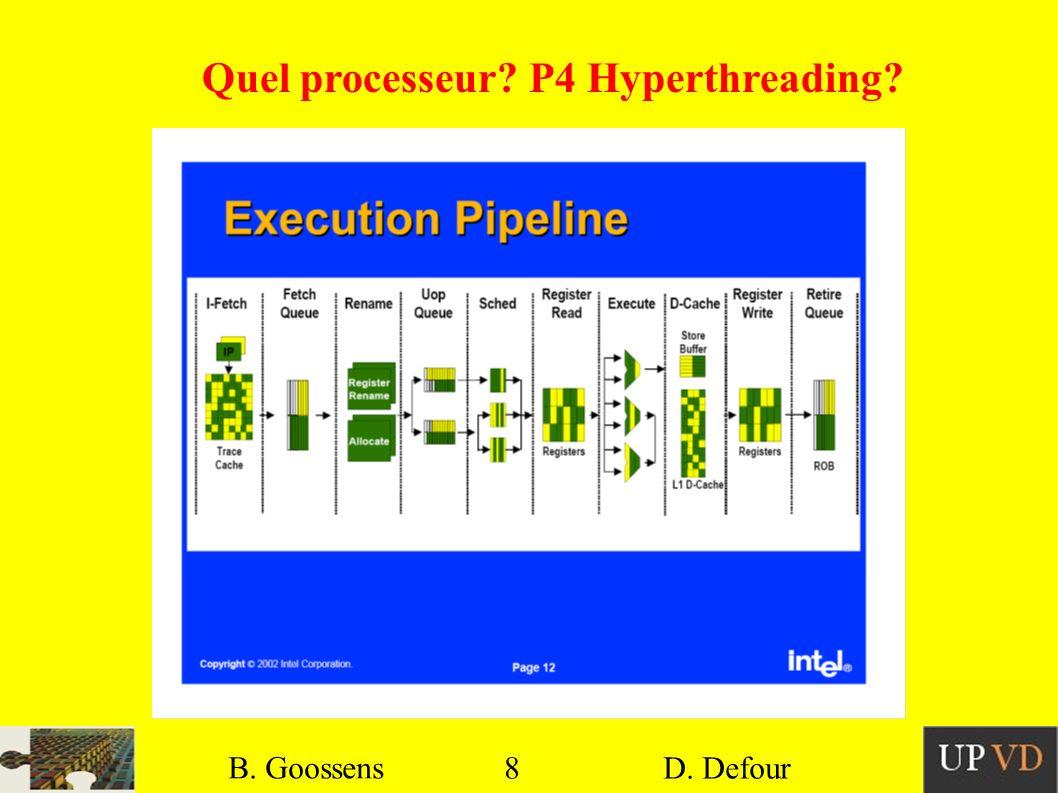 8 B. Goossens D. Defour8 B. Goossens D. Defour Quel processeur? P4 Hyperthreading?