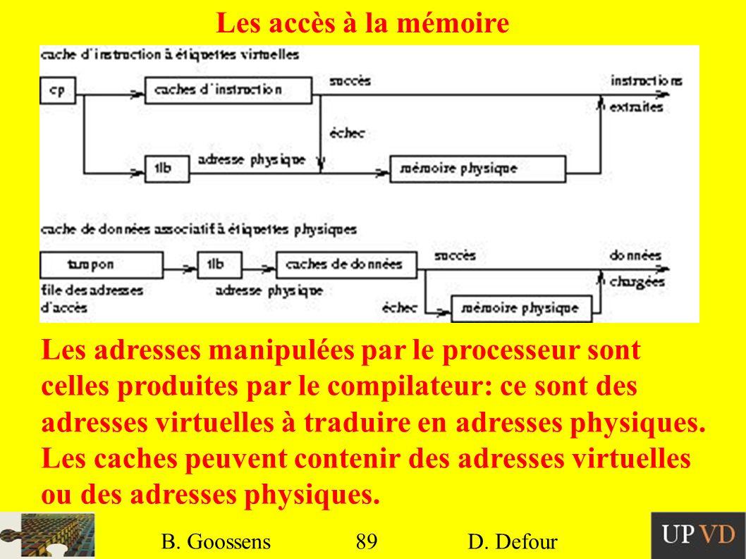 89 B. Goossens D. Defour89 B. Goossens D. Defour Les adresses manipulées par le processeur sont celles produites par le compilateur: ce sont des adres