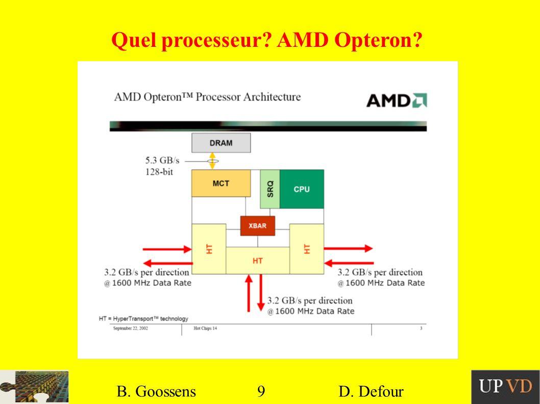 9 B. Goossens D. Defour9 B. Goossens D. Defour Quel processeur? AMD Opteron?
