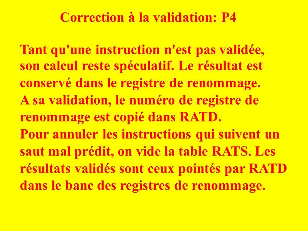 Correction à la validation: P4 Tant qu une instruction n est pas validée, son calcul reste spéculatif.