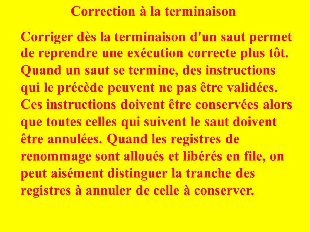 Correction à la terminaison Corriger dès la terminaison d un saut permet de reprendre une exécution correcte plus tôt.