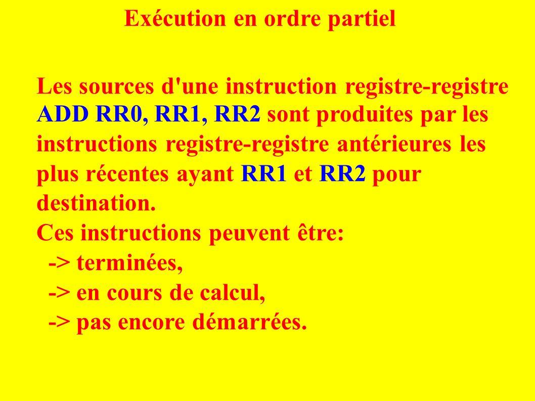 Exécution en ordre partiel Les sources d une instruction registre-registre ADD RR0, RR1, RR2 sont produites par les instructions registre-registre antérieures les plus récentes ayant RR1 et RR2 pour destination.
