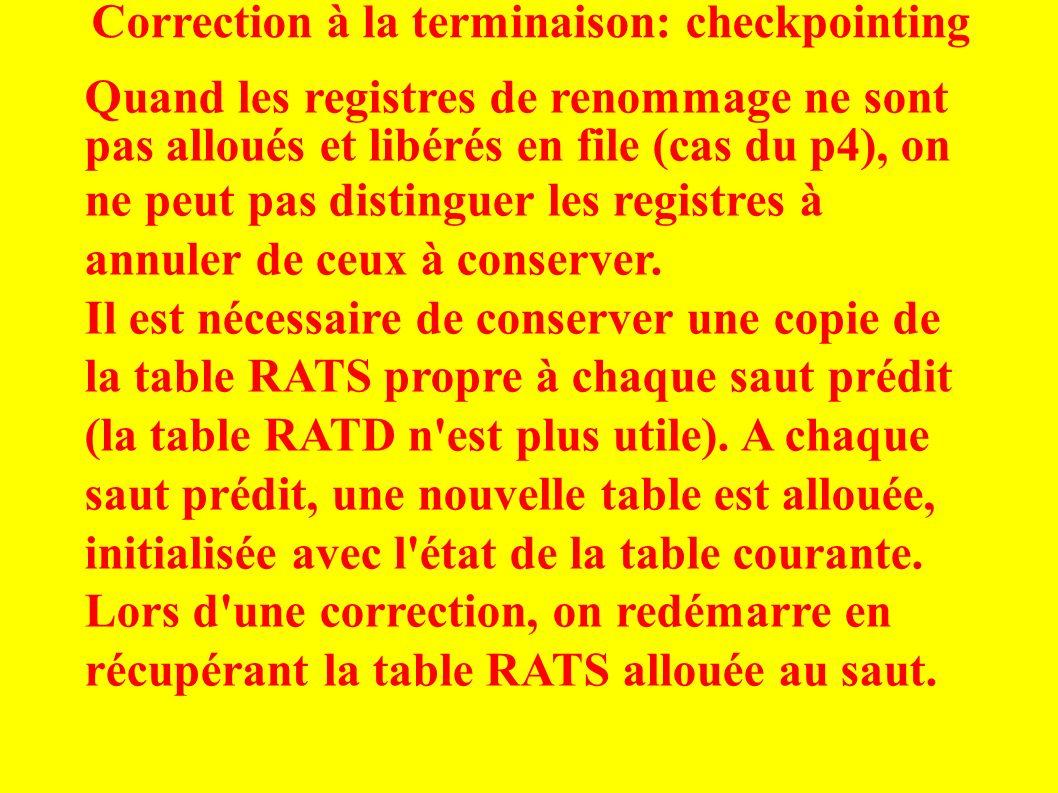 Correction à la terminaison: checkpointing Quand les registres de renommage ne sont pas alloués et libérés en file (cas du p4), on ne peut pas distinguer les registres à annuler de ceux à conserver.