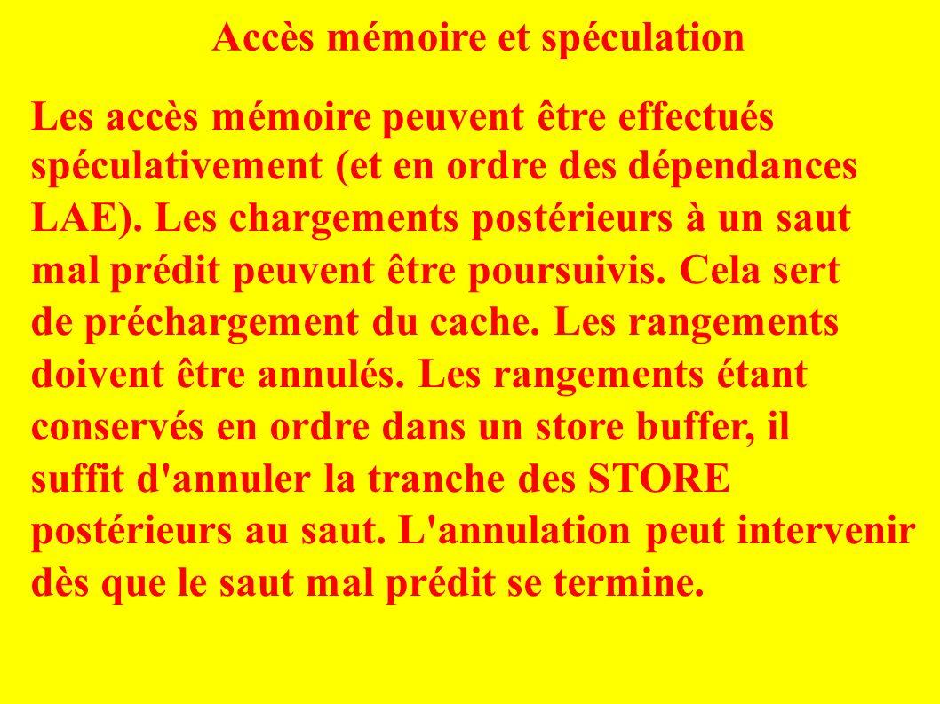 Accès mémoire et spéculation Les accès mémoire peuvent être effectués spéculativement (et en ordre des dépendances LAE).
