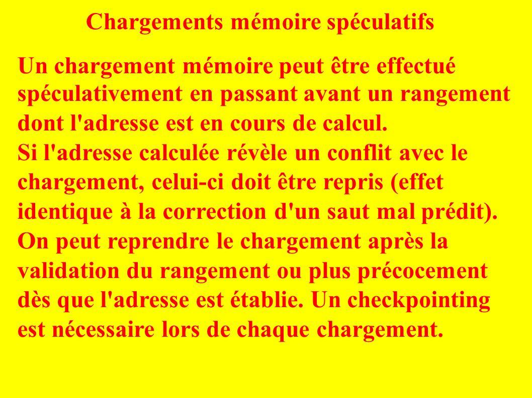Chargements mémoire spéculatifs Un chargement mémoire peut être effectué spéculativement en passant avant un rangement dont l adresse est en cours de calcul.