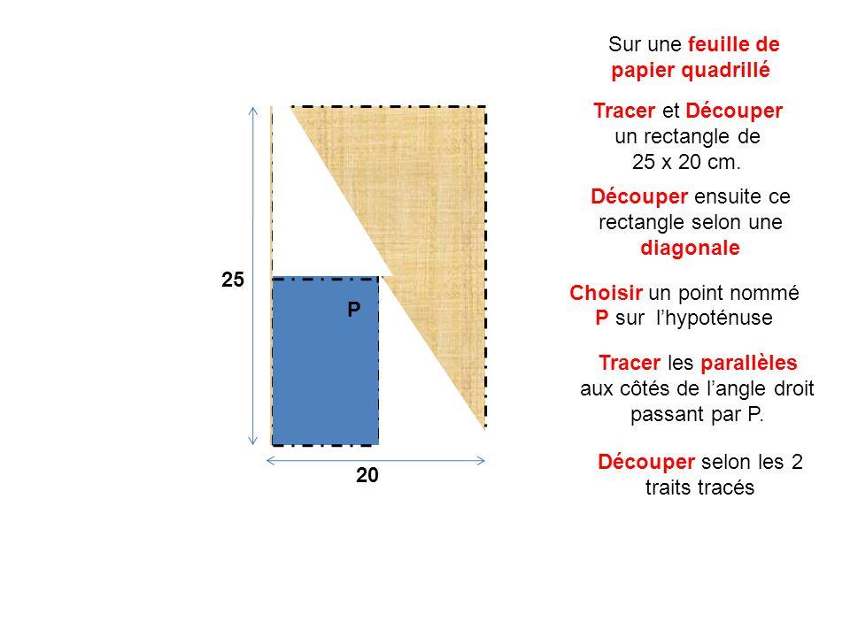 Choisir un point nommé P sur lhypoténuse Découper ensuite ce rectangle selon une diagonale Tracer et Découper un rectangle de 25 x 20 cm. Sur une feui