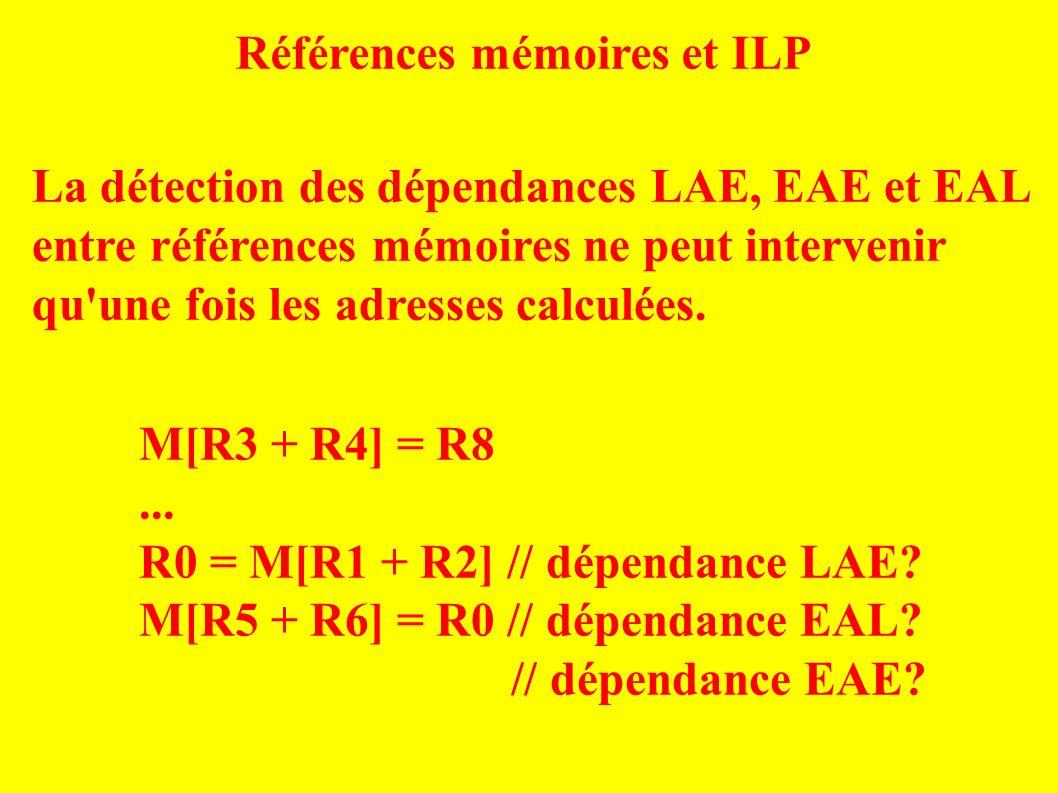 Références mémoires et ILP La détection des dépendances LAE, EAE et EAL entre références mémoires ne peut intervenir qu une fois les adresses calculées.