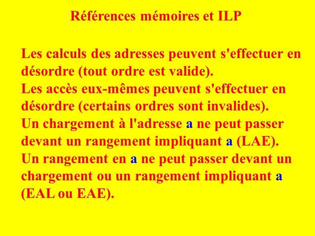 Références mémoires et ILP Les calculs des adresses peuvent s effectuer en désordre (tout ordre est valide).