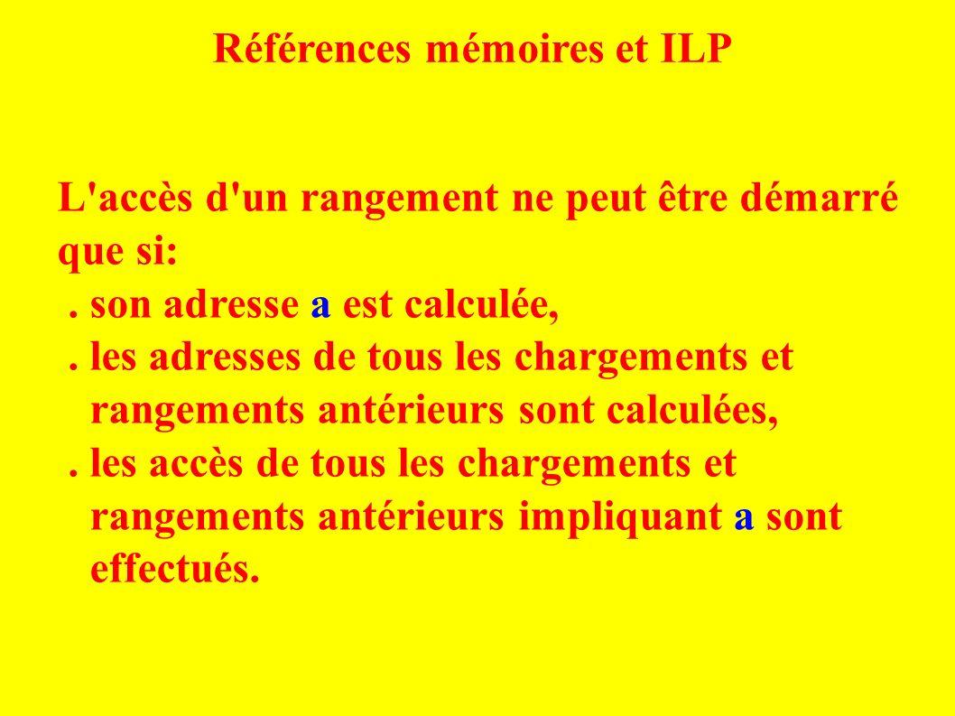 Références mémoires et ILP L accès d un rangement ne peut être démarré que si:.