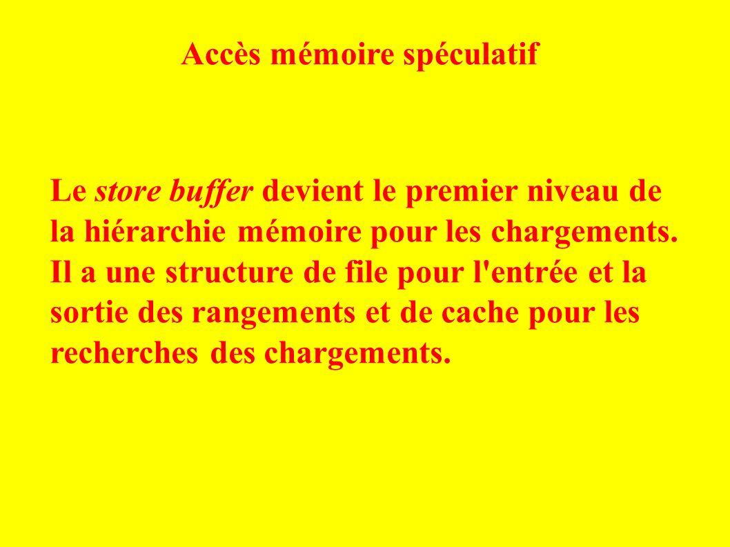 Le store buffer devient le premier niveau de la hiérarchie mémoire pour les chargements.