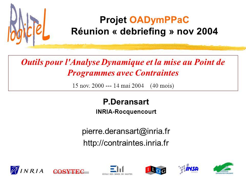 Réunion Débriefing - 17/11/2004 – Projet OADymPPaC 22 Bilan RNTL Processus de sélection: délais OK incertitude sur date de début (autorisations dembauche) Mise en route et suivi: excellent.