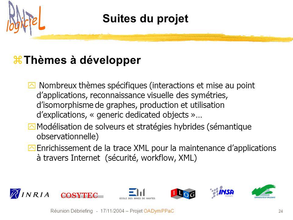 Réunion Débriefing - 17/11/2004 – Projet OADymPPaC 24 Suites du projet zThèmes à développer y Nombreux thèmes spécifiques (interactions et mise au poi