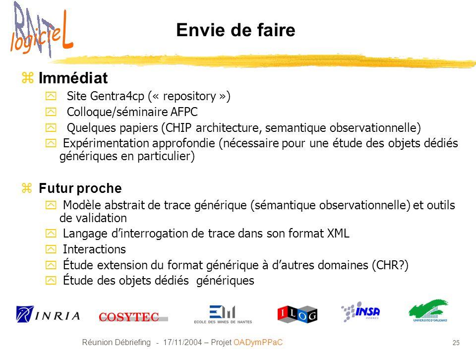 Réunion Débriefing - 17/11/2004 – Projet OADymPPaC 25 Envie de faire zImmédiat y Site Gentra4cp (« repository ») y Colloque/séminaire AFPC y Quelques