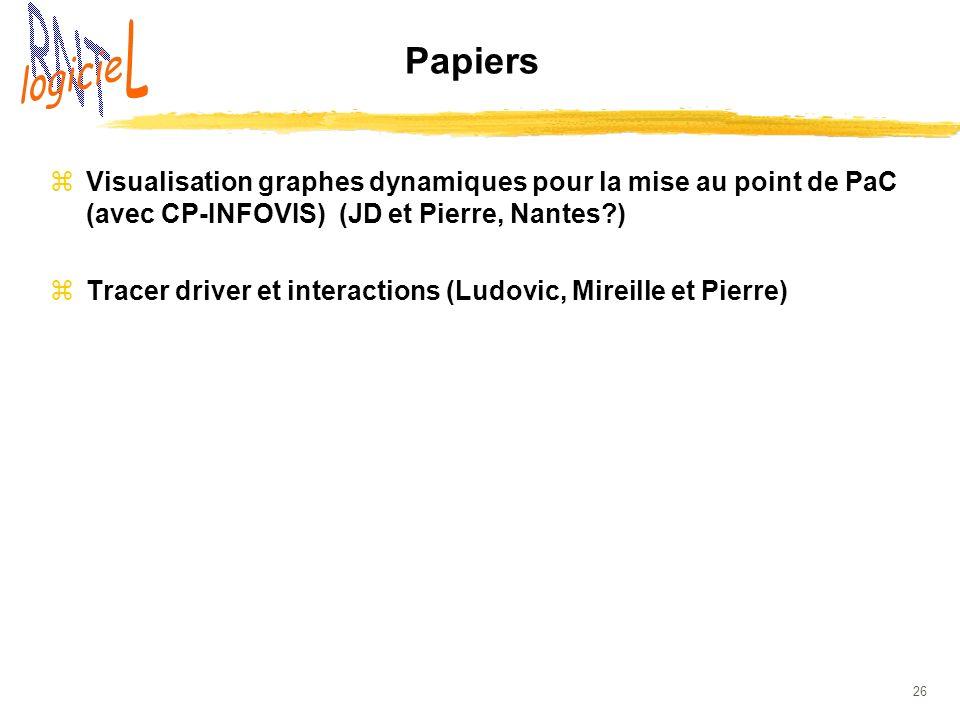 26 Papiers zVisualisation graphes dynamiques pour la mise au point de PaC (avec CP-INFOVIS) (JD et Pierre, Nantes?) zTracer driver et interactions (Lu