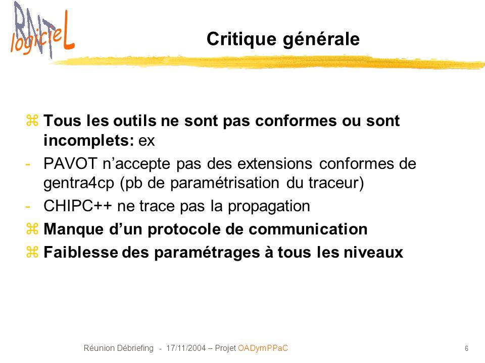 Réunion Débriefing - 17/11/2004 – Projet OADymPPaC 6 Critique générale zTous les outils ne sont pas conformes ou sont incomplets: ex -PAVOT naccepte p