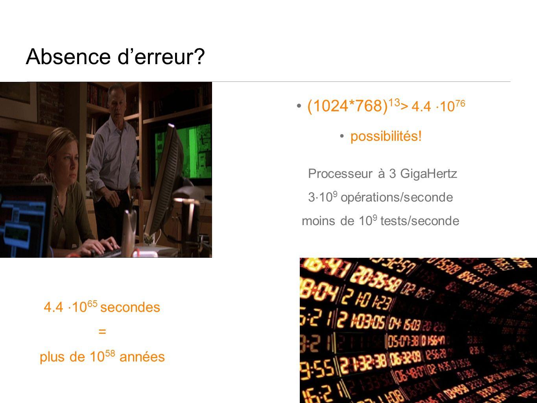 Absence derreur. (1024*768) 13 > 4.4 10 76 possibilités.
