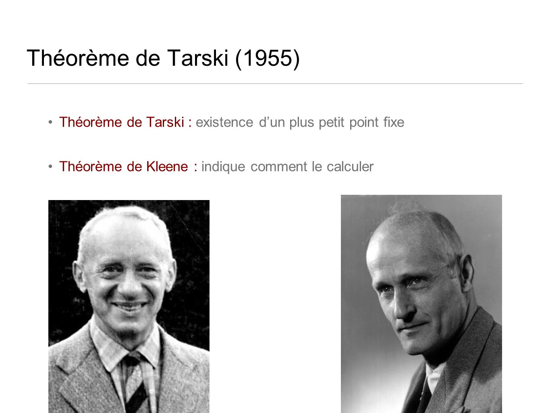 Théorème de Tarski (1955) Théorème de Tarski : existence dun plus petit point fixe Théorème de Kleene : indique comment le calculer