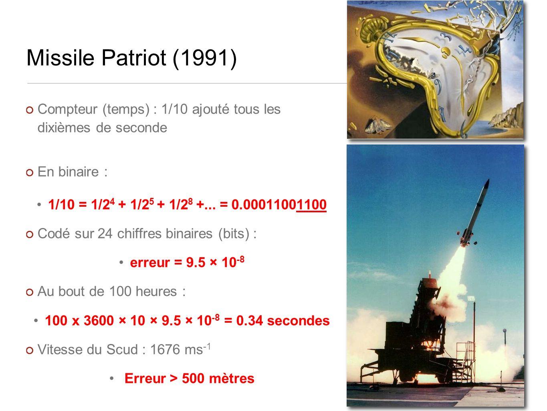 Missile Patriot (1991) Compteur (temps) : 1/10 ajouté tous les dixièmes de seconde En binaire : 1/10 = 1/2 4 + 1/2 5 + 1/2 8 +...