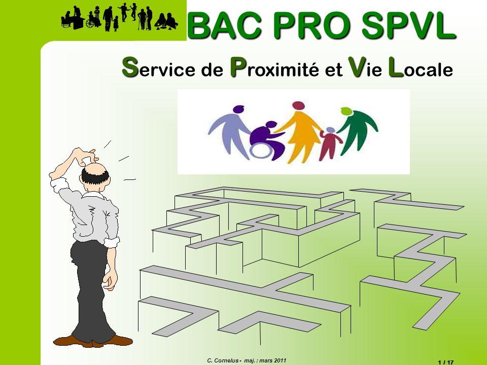 C. Cornelus - maj. : mars 2011 1 / 17 S ervice de P roximité et V ie L ocale BAC PRO SPVL