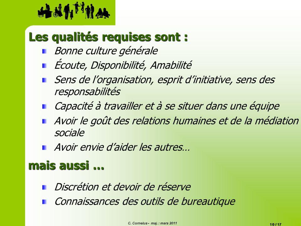 C. Cornelus - maj. : mars 2011 10 / 17 Bonne culture générale Écoute, Disponibilité, Amabilité Sens de lorganisation, esprit dinitiative, sens des res