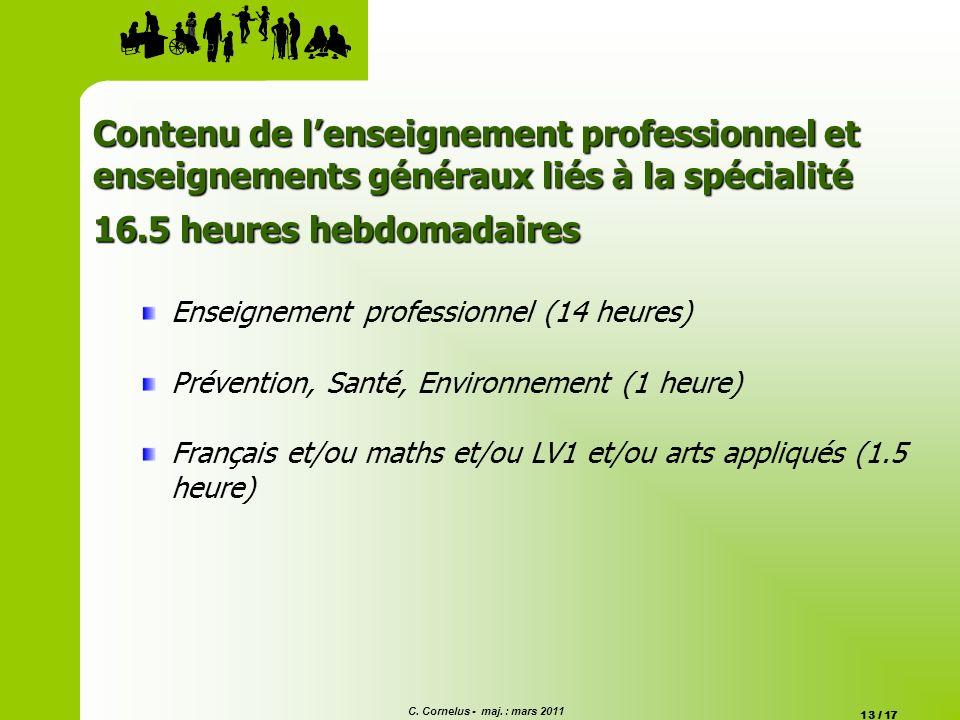 C. Cornelus - maj. : mars 2011 13 / 17 Contenu de lenseignement professionnel et enseignements généraux liés à la spécialité 16.5 heures hebdomadaires