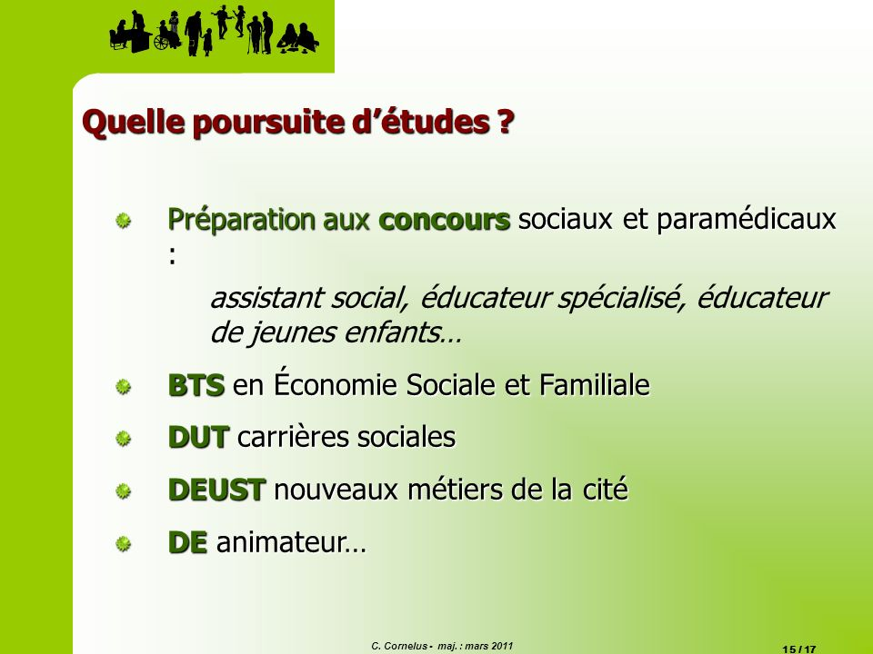 C. Cornelus - maj. : mars 2011 15 / 17 Quelle poursuite détudes ? Préparation aux concours sociaux et paramédicaux : assistant social, éducateur spéci