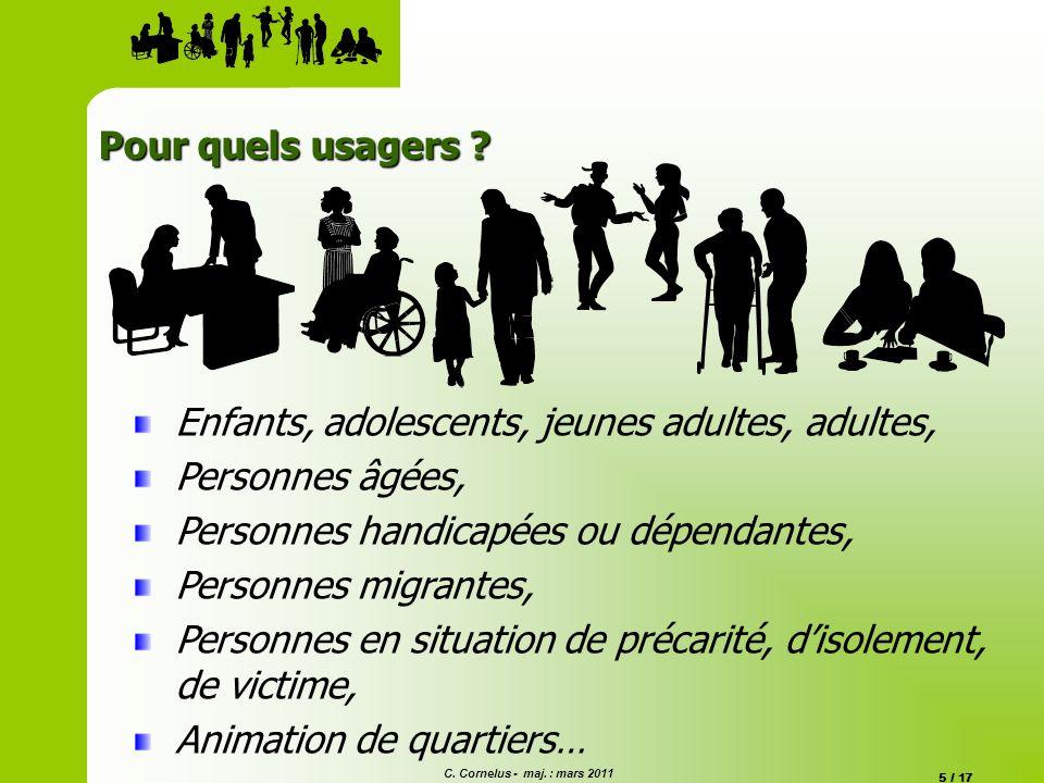 C. Cornelus - maj. : mars 2011 5 / 17 Pour quels usagers ? Enfants, adolescents, jeunes adultes, adultes, Personnes âgées, Personnes handicapées ou dé