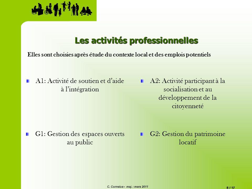 C. Cornelus - maj. : mars 2011 8 / 17 A1: Activité de soutien et daide à lintégration A2: Activité participant à la socialisation et au développement