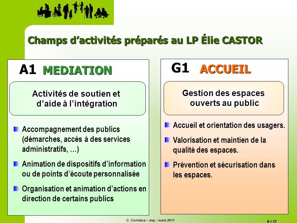 C. Cornelus - maj. : mars 2011 9 / 17 A1 MEDIATION Activités de soutien et daide à lintégration Accompagnement des publics (démarches, accès à des ser
