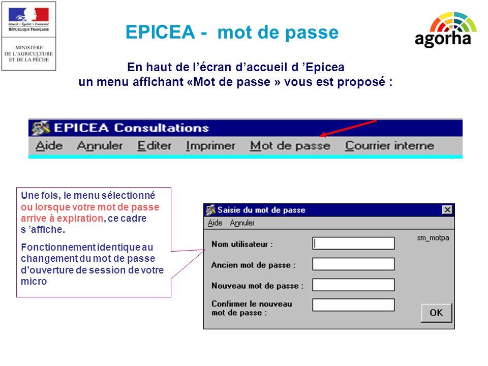 EPICEA - mot de passe En haut de lécran daccueil d Epicea un menu affichant «Mot de passe » vous est proposé : Une fois, le menu sélectionné ou lorsque votre mot de passe arrive à expiration, ce cadre s affiche.
