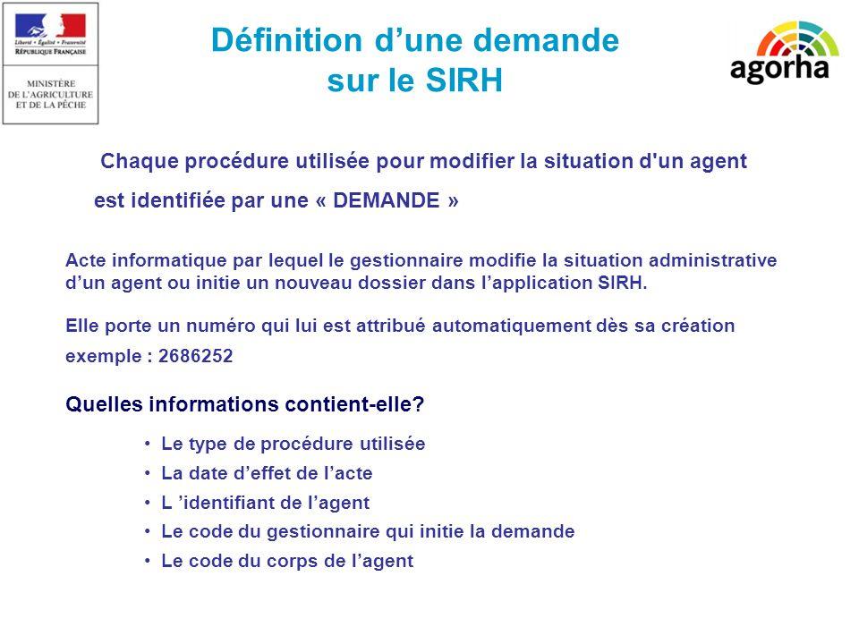 Définition dune demande sur le SIRH Acte informatique par lequel le gestionnaire modifie la situation administrative dun agent ou initie un nouveau dossier dans lapplication SIRH.
