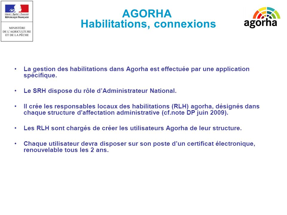 La gestion des habilitations dans Agorha est effectuée par une application spécifique.