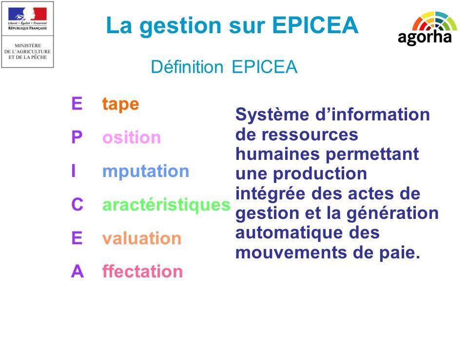 Définition EPICEA Système dinformation de ressources humaines permettant une production intégrée des actes de gestion et la génération automatique des mouvements de paie.