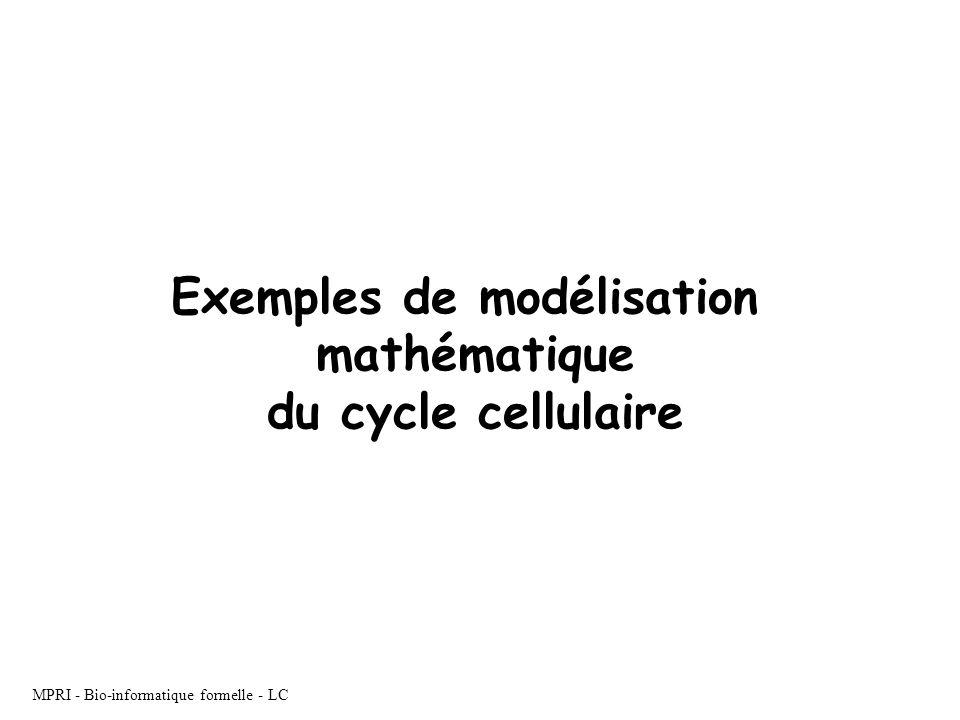 MPRI - Bio-informatique formelle - LC Exemples de modélisation mathématique du cycle cellulaire