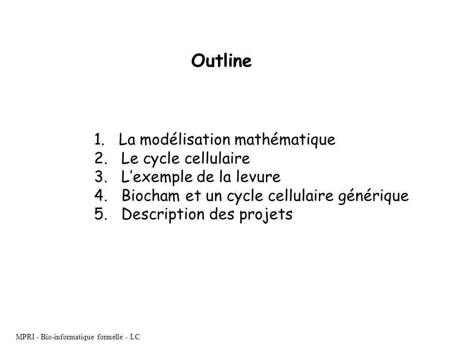 MPRI - Bio-informatique formelle - LC 1. La modélisation mathématique 2. Le cycle cellulaire 3. Lexemple de la levure 4. Biocham et un cycle cellulair