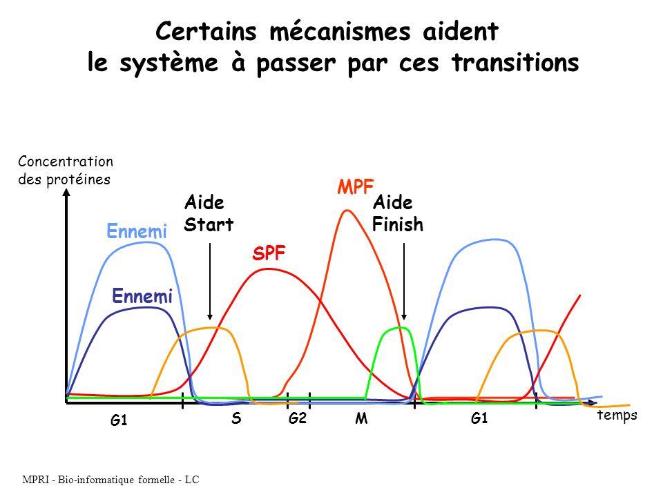MPRI - Bio-informatique formelle - LC G1 SG2M MPF SPF temps Concentration des protéines Ennemi Aide Start Aide Finish Certains mécanismes aident le sy