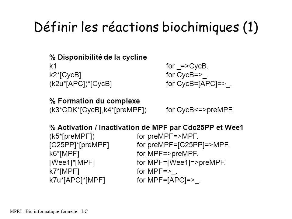 MPRI - Bio-informatique formelle - LC Définir les réactions biochimiques (1) % Disponibilité de la cycline k1 for _=>CycB. k2*[CycB] for CycB=>_. (k2u