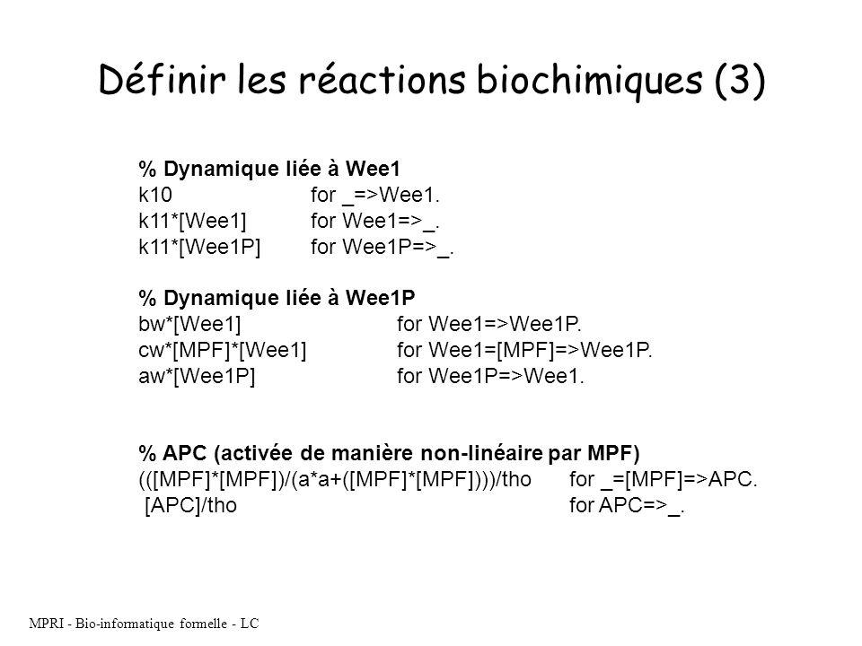 MPRI - Bio-informatique formelle - LC % Dynamique liée à Wee1 k10 for _=>Wee1. k11*[Wee1] for Wee1=>_. k11*[Wee1P] for Wee1P=>_. % Dynamique liée à We