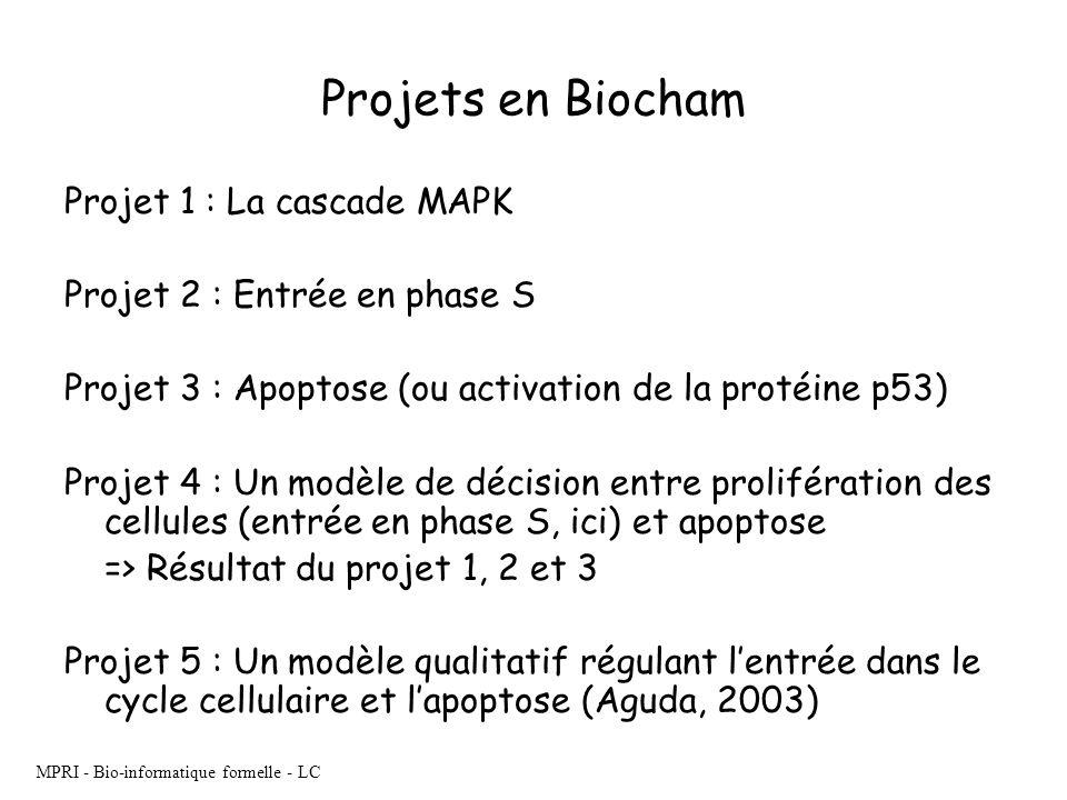 MPRI - Bio-informatique formelle - LC Projets en Biocham Projet 1 : La cascade MAPK Projet 2 : Entrée en phase S Projet 3 : Apoptose (ou activation de