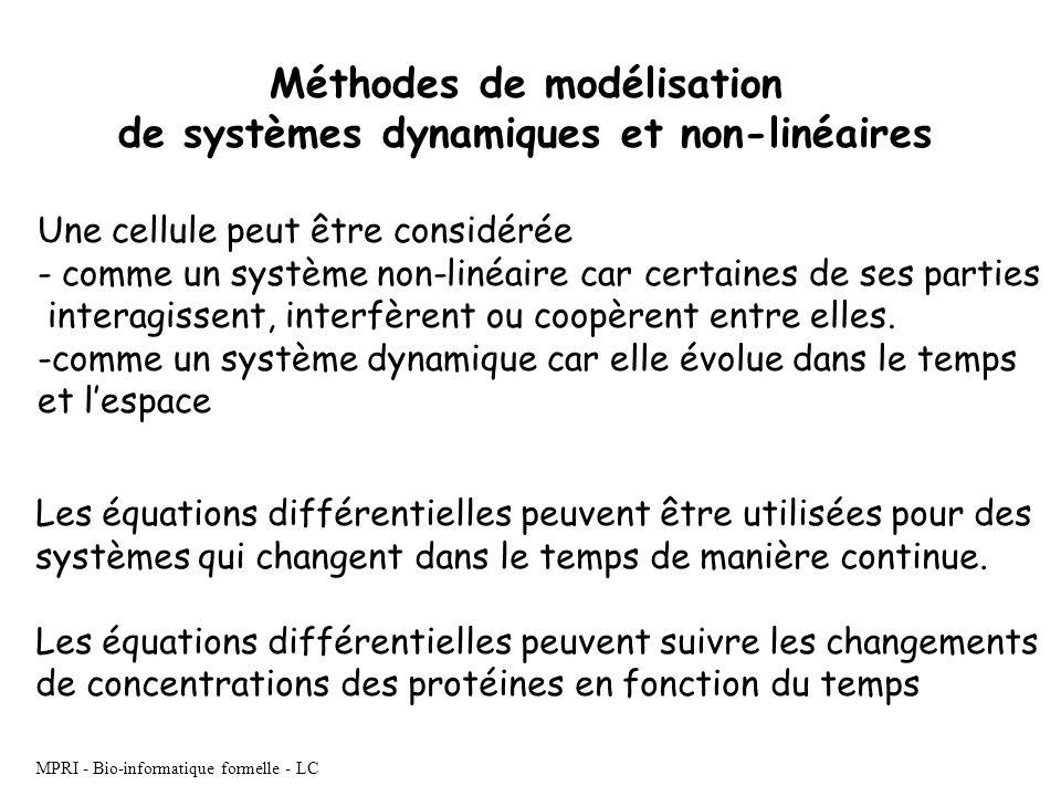 Méthodes de modélisation de systèmes dynamiques et non-linéaires Une cellule peut être considérée - comme un système non-linéaire car certaines de ses